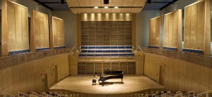 Stage at the Studzinski recital hall on the Bodwin College campus, Brunswick Maine