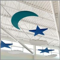 Decorative acoustic designs for ceiling from fabric wall
